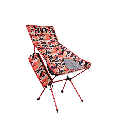 LHFLU-SP Outdoor Camouflage Portable Folding Camping Chairs Light Fishing Beach Chair Aviation Aluminum Alloy Backrest Recliner,Flame red camouflage,big