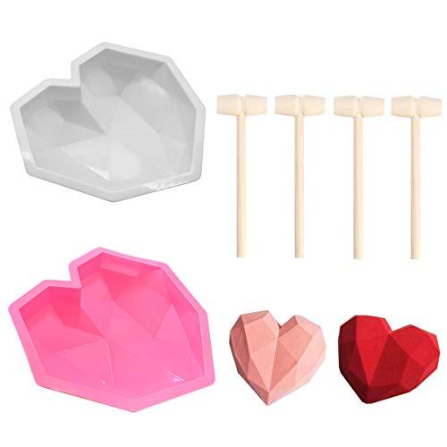 2 Stück 3D Diamant Herz Mousse Kuchen Form Herz Geometrische Backform Silikon Cupcake Form für Mousse, Schokolade, Brownie, Käsekuchen, Fondant mit 4 Stück Mini Holzhammer