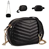 GLADDON 3 in 1 Fashion Fanny Packs for Women Black Waist Bag Stylish Crossbody Purse Ladies Clutch Baguette Bag with Shoulder Strap Versatile Belt Bag Small