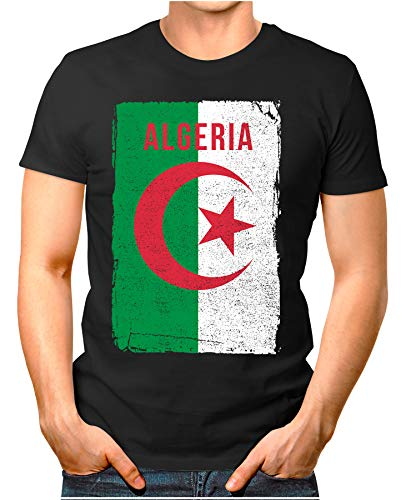 OM3® - Algeria-Flag-Vintage - Herren T-Shirt | Algerien Flagge Fussball Soccer Fanshirt Sport Trikot | Schwarz L