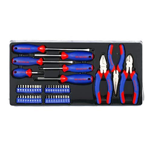 WORKPRO Werkzeugkoffer Mechanik Metall mit 3 Schubladen Heavy Duty Werkzeugschrank (408Stück) - 8