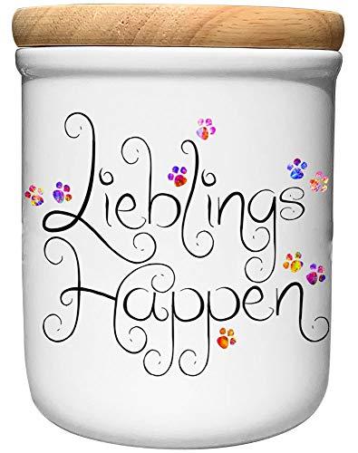 Cadouri Keramik Leckerli-Dose » Lieblings Happen «┊Snackdose Keksdose Aufbewahrungsdose┊mit Holzdeckel