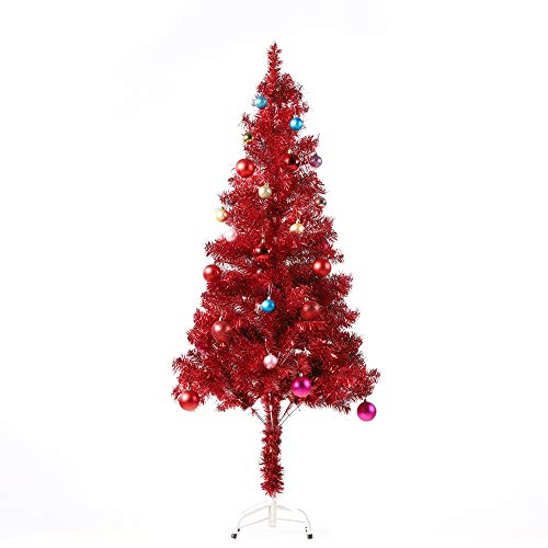 Wellwood 5 ft Tinsel Christmas Tree with 24ct Assorted Ornament Set, Metal...