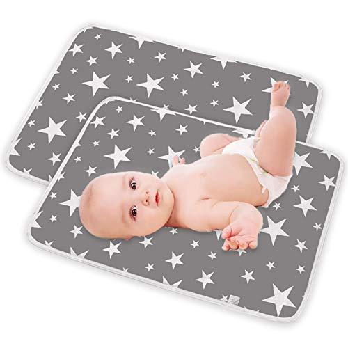 2 Stück Baby Wasserdicht Wickelunterlage für Babys und Kleinkinder Wickelauflage Waschbar Tragbare Faltbar Neugeborene Wickelunterlage Unterwegs 50x70 cm