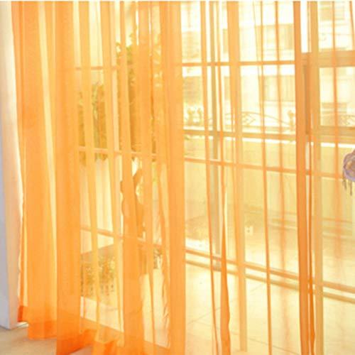 RoxTop Arbeiten Sie einfache Fest Farbe Tulle Tür-Fenster-Vorhang Waschbar Drape-Panel Sheer Schal Valances transparentes Design Orange