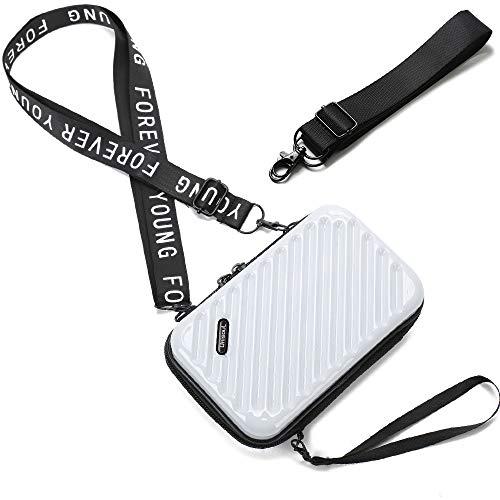 Handy Umhängetasche - Mode Damen Schultertasche Klein Geldbörse Crossbody Handtasche - Hart ABS+pc Kofferform mit Verstellbar Abnehmbar Schultergurt für Handy unter 6.5 Zoll (Streifen Weiß)