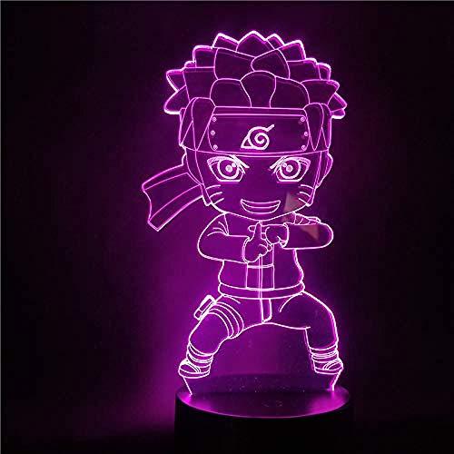 Naruto Figura Linda Uzumaki Naruto LED Luz de noche 3D para niños Dormitorio Anime Lámpara de luz 3D Naruto Lampara Regalos Luz de mesa-Controlador 16 Color