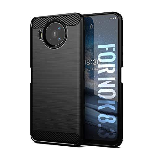 SCL Nokia 8.3 Hülle Für Nokia 8.3 Hülle, [Schwarz] Handyhülle Exquisite Serie-Carbon Design Schutzhülle mit Anti-Kratzer & Anti-Stoß Absorbtion Technologie für Nokia 8.3
