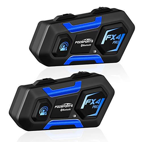 FODSPORTS FX4 Pro Intercomunicador Casco Moto Doble con CVC Reduce El Ruido,Manos Libres Bluetooth Auricular Apoyan GPS por Voz,Función FM,Hi-Fi Sonido Estéreo,Mirada De Ciencia Ficción,850mAh