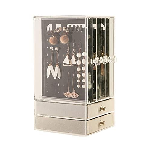 NancyMissY 耐久性のある透明な透明なアクリルジュエリーと化粧品のヒントほこりのない綿棒収納ディスプレイボックスケース