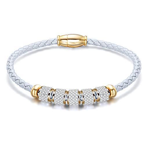 Titanium leer dames armband leder gevlochten armband roestvrij staal magneet armband