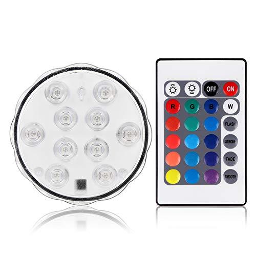 OurLeeme LED Submersible, RGB coloré étanche 10LED submersible Lampe Éclairage pour plan d'eau Télécommande pour Contenants Piscine (1PCS)