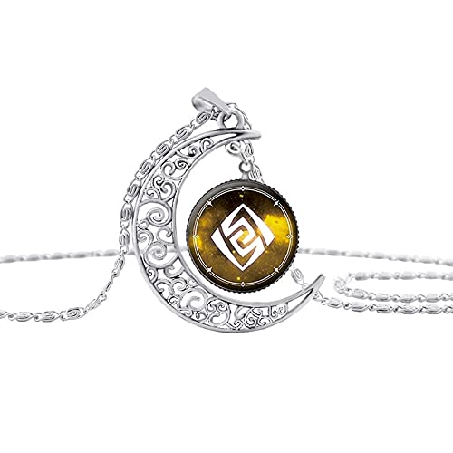 Vintage Hollow Moon Pendant Necklace Weapon PropsDome Glass Necklaces For Women Jewelry 5