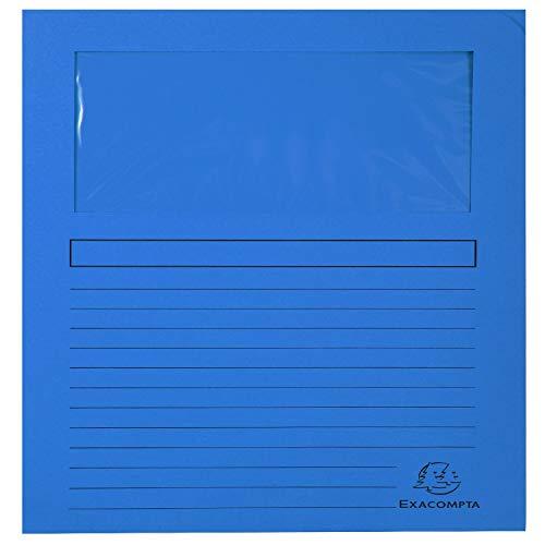 Exacompta 50102E Fenstermappen Packung, 100 Stück, mit Organisationsdruck aus Recycling-Karton 120 g, forever, Din A4, dunkelblau
