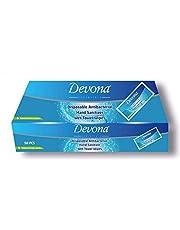 Devona Essentials Desinfectante de Manos Antibacteriano Desechable Toallas Húmedas y 50 Toallitas Envueltas Individualmente, Tamaño de Bolsillo