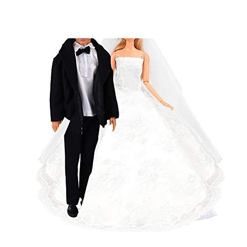 Miunana 1 Vestido de Novia con Velo Blanco Vestir Boda Ropa para Muñeca Ninas y 1 Novio Traje de Ropa con Negro para Ninos Muñeco
