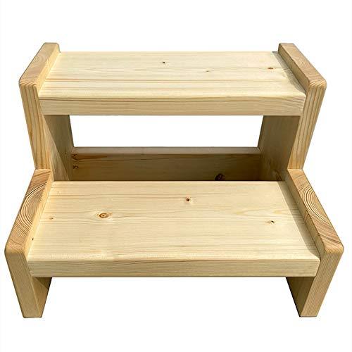 Taburete de escalera Adultos Niños 2 Pasos, Madera Maciza Escabel para Uso en Cocina/Baño/Dormitorio/Balcón, Fácil de Montar Taburete (Size : 60×40×35cm)