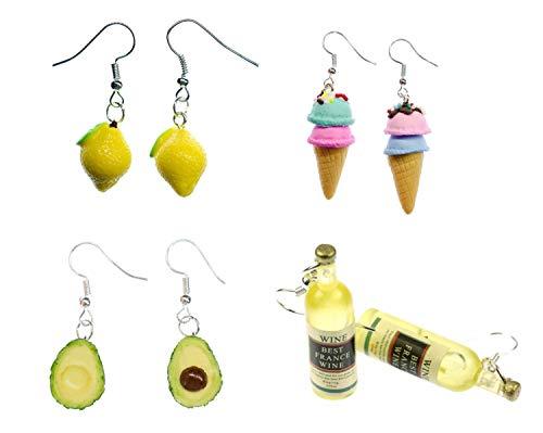 Miniblings 4er Set Ohrringe Bestseller Zitrone Eis Avocado Wein Waffeleis - Handmade Modeschmuck I Ohrhänger Ohrschmuck versilbert