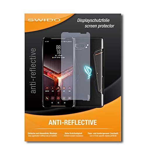 SWIDO Schutzfolie für Asus ROG Phone 2 [2 Stück] Anti-Reflex MATT Entspiegelnd, Hoher Festigkeitgrad, Schutz vor Kratzer/Folie, Bildschirmschutz, Bildschirmschutzfolie, Panzerglas-Folie
