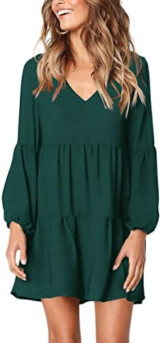 Amoretu Women Long Sleeve Tunic Dress V Neck Swing Shift Dresses Green Medium product image
