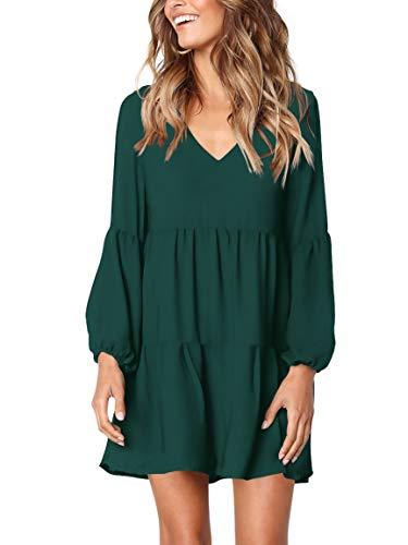 Amoretu Women Long Sleeve Tunic Dress V Neck Swing Shift Dresses(Green,Large)