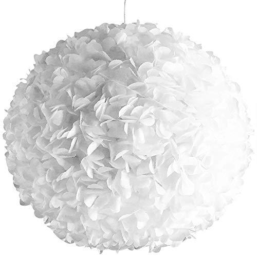 White Fluffy, Ø 42cm, weiße Papierlampe Hängelampe Lampe Lampenschirm Pendellampe Designerlampe Deckenlampe Leuchte AUS PAPIER + Lampenfassung E27 für LED Glühbirne