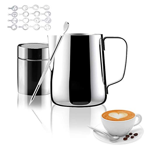 1255 Milk Frothing Pitcher, Milk Frother Cup for Coffee Cappuccino Latte Art - Perfect for Espresso Machines Milk Steaming Pitcher (12oz/350ml)