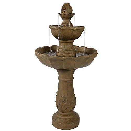 Sunnydaze Blooming Flower Outdoor Tier Fountain - Backyard Water Feature & Garden Fountain for The Patio, Yard, & Deck - 38 Inch Tall
