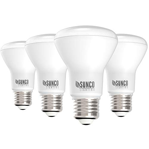 Sunco Lighting 4 Pack BR20 LED Bulb, 7W=50W, Dimmable, 2700K Soft White, E26 Base, Flood Light for Home or Office Space - UL & Energy Star