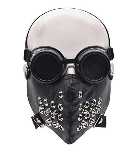 Half Face Mask and Goggles Glasses for Halloween Costume Cosplay Motorcycle Biker (Black rivet)