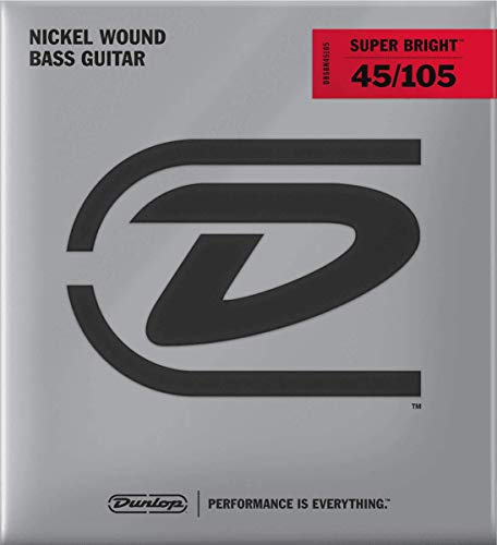Dunlop DBSBN45105 Super Bright Bass Strings, Nickel Wound, Medium, .045–.105, 4 Strings/Set