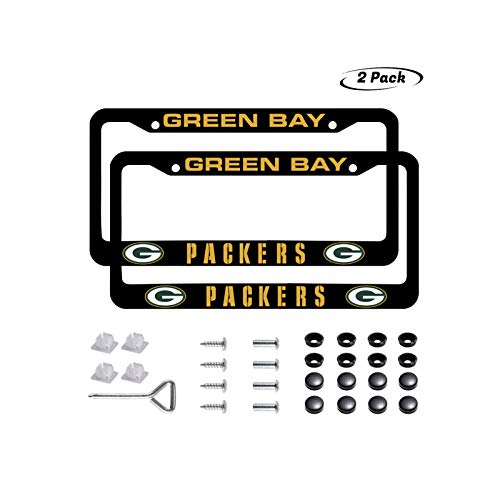 2PCS fit Green Bay Packers License Plate Frames, Matte Black Aluminum Alloy License Plate Frame Matching with Screw Cover Set (fit Packers)