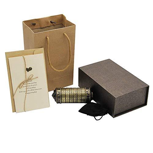 Moontie Cerradura de cilindro de código Da Vinci, mini cerradura de amante de Cryptex, rompecabezas creativo, rompecabezas, regalos románticos, caja de bloqueo de aniversario para cumpleaños d