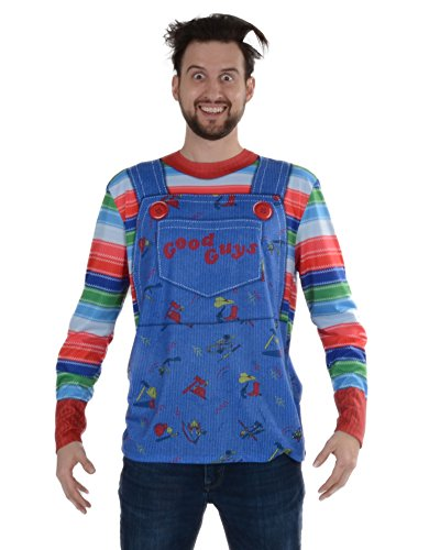 Faux Real Men's Halloween 3D Photo-Realistic Long Sleeve T-Shirt, Chucky, Large