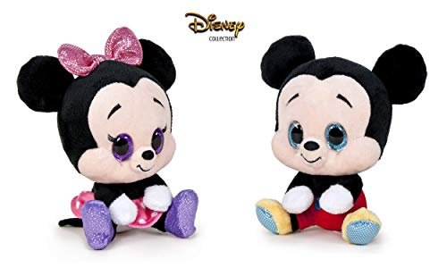 Dsney Famosa Softies - Pack de 2 Peluches Mickey y Minnie Glitzies 6'29