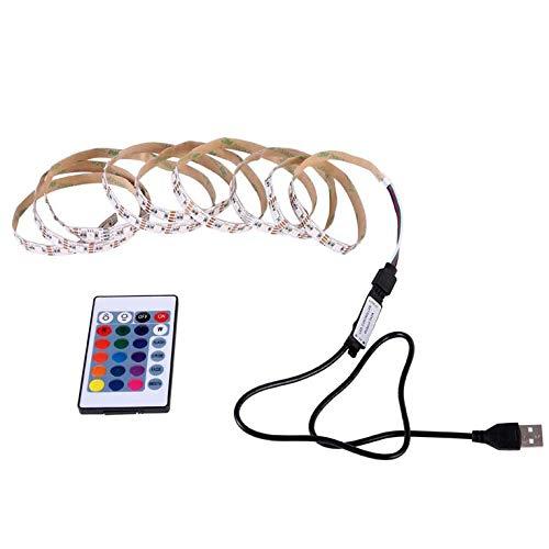 QiKun-Home Tira de luz LED USB 24 Colores Que cambian la Cinta de la Cuerda de la Cinta Impermeable RGB LED retroiluminación de TV con Control Remoto Multicolor 1m