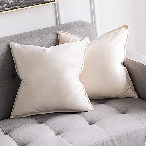 MIULEE 2er Set Samt Kissenbezug Flansch Kissenhülle Dekorative Dekokissen mit Verstecktem Reißverschluss Sofa Schlafzimmer Auto 16 x 16 Inch 40 x 40 cm Creme weiß