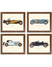 Art Street Vintage Car BugattiMercedesDelageHispano Framed