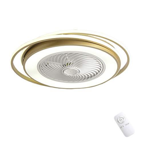 LED Dormitorio Ventilador de Techo con Iluminación Redondo Diseño Moderna Regulable con Control Remoto Silencioso Ventilador Lámpara Plafón Dorado 36W para Sala de Estar Comedor VOMI