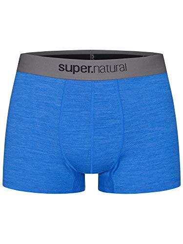 Super.Natural Boxer près du Corps pour Homme en Laine mérinos M Base Mid Boxer 175 Taille S Bleu chiné