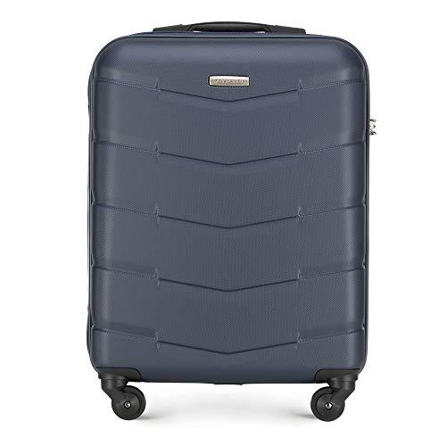 Wittchen Stabiler Koffer Trolley Handgepäck Bordgepäck Bordcase Kleiner Koffer 4 Rollen Zahlenschloss Hartschalen Gummigriffe Marineblau