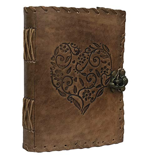 Leather Heart Embossed Journal, Notebook, Leather Journal for Men, Leather Journal for Women, Poetry Journal, Notebooks and Journals for Women, Mens Journal, Blank Paper Book, Blank Book (Design1)