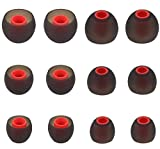 ALXCD Ear Tips for Tune 125TWS 120TWS Bluetooth Headphones, 6 Pairs S M L Sizes Replacement Silicone Earbud Tips, Fit for Tune 120TWS 125TWS,Black/Red