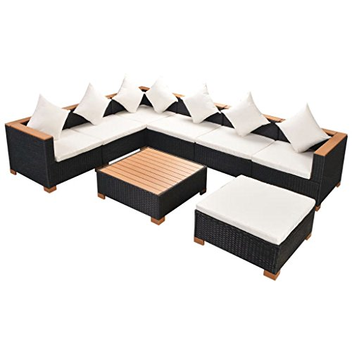Chloe Rossetti Jardin Salon de 22 pièces en polyrotin polywood/WPC Dessus Noir de table Matière : polywood (WPC)
