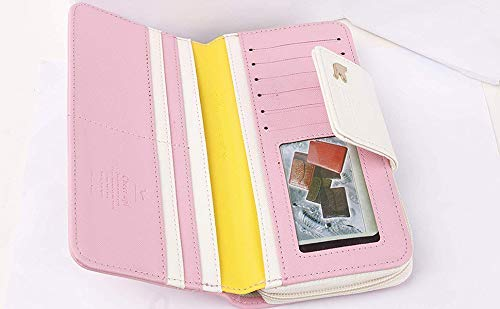 PALAY Girl's and Women's Leather Cute Long Wallet Clutch Organizer (Pink)