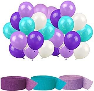 Mermaid Party Supplies Birthday Mermaid Party Decorations Latex Balloons and Crepe Paper Streamer Hanging Party Decorations Kit - Teal Lavender Purple (Balloons & Streamers)
