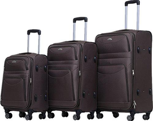 BEIBYE 8009 TSA Schloß Stoff Trolley Reisekoffer Koffer Kofferset Gepäckset (Braun, Set)