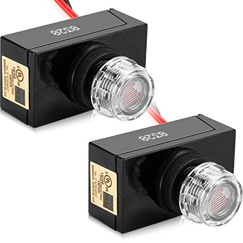 AC120V Photocell Sensor Switch 2 Pack UL Listed Outdoor Hard-Wired Post Eye Light Control Electric Resistor Photoelectric Light Sensor Auto On/Off Dusk to Dawn Lamp Switch for Post Porch Fixture
