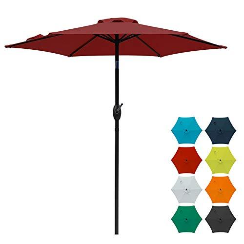 SUNVIVI OUTDOOR 7.5 Ft Patio Umbrella Outdoor Market Table Umbrella with Crank, 6 Ribs, Polyester Canopy, Burgundy