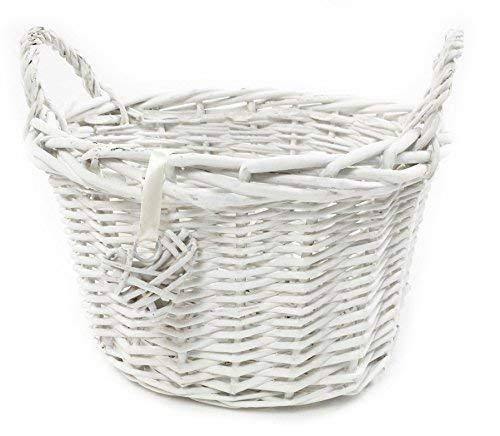 topfurnishing Oval Deep White French Shabby Chic Wicker Kids Children's Easter Egg Hunt Storage Basket[Oval Deep,White,Medium (O) 28x24x22cm]